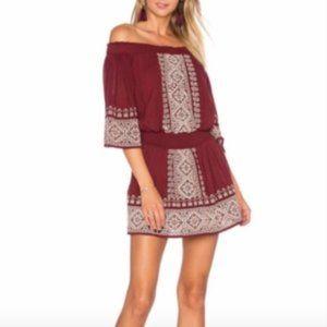 Tularosa Fiona Off Shoulder Red Embroider Dress M